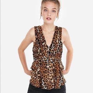 12 Cheetah Peplum Ruffle Zipper V-Neck Blouse Top